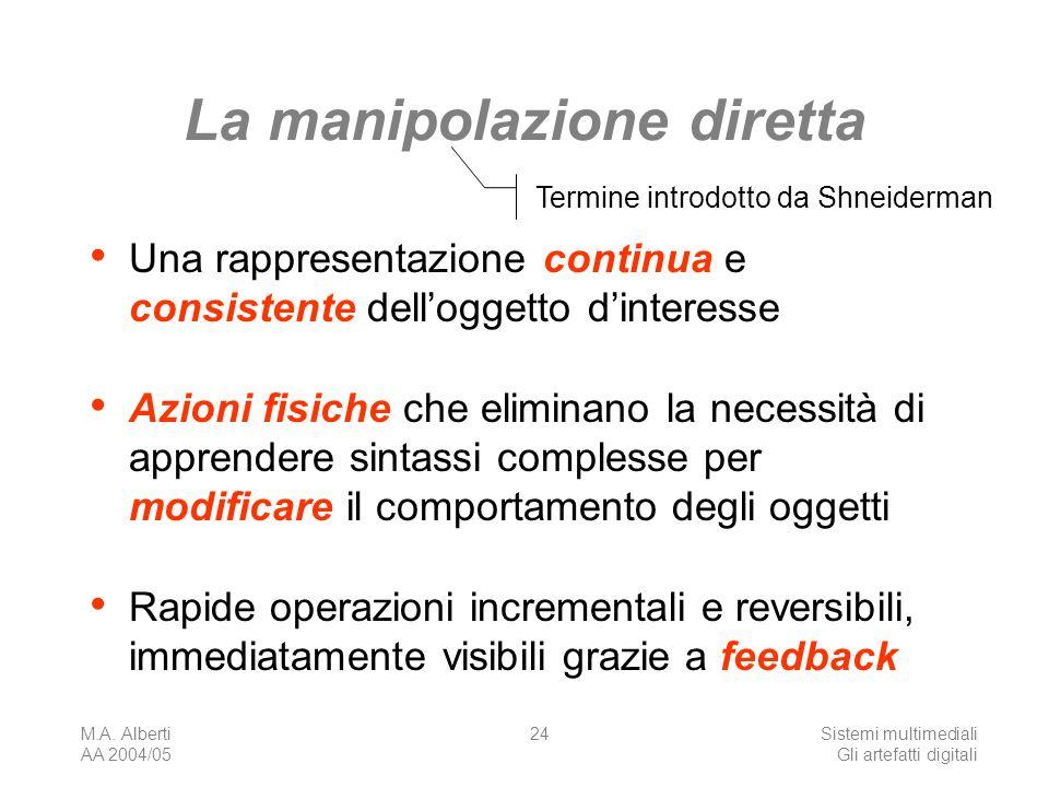 M.A. Alberti AA 2004/05 Sistemi multimediali Gli artefatti digitali 24 La manipolazione diretta Una rappresentazione continua e consistente delloggett