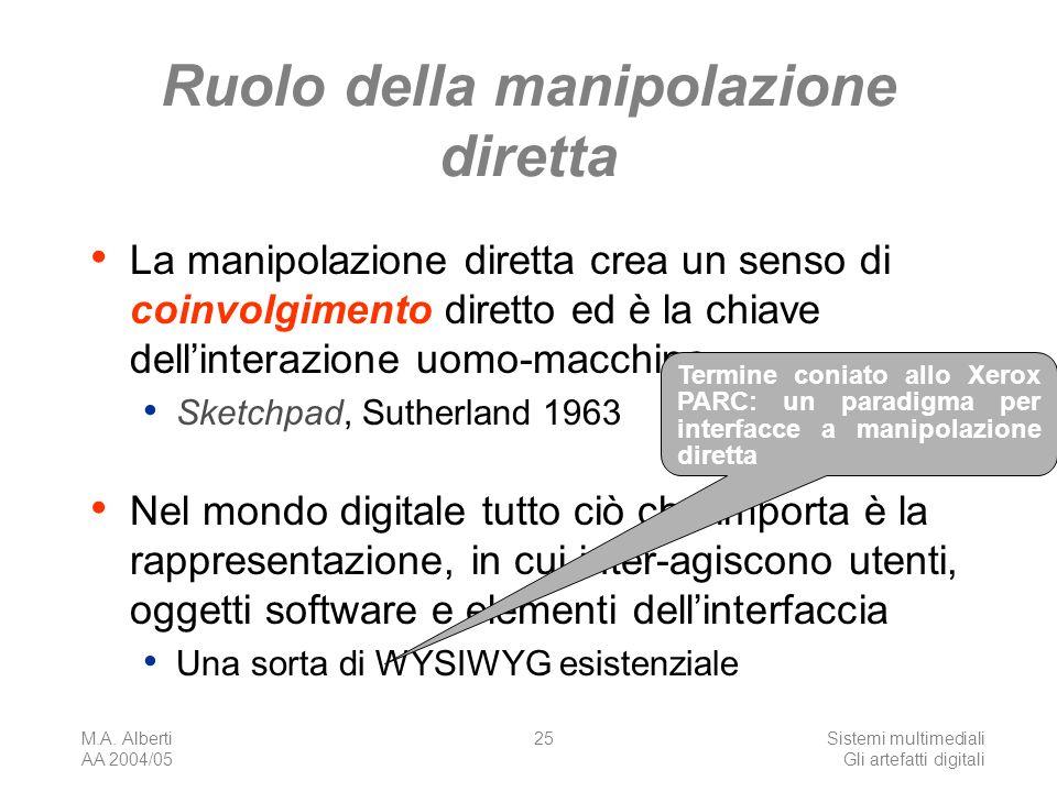 M.A. Alberti AA 2004/05 Sistemi multimediali Gli artefatti digitali 25 Ruolo della manipolazione diretta La manipolazione diretta crea un senso di coi