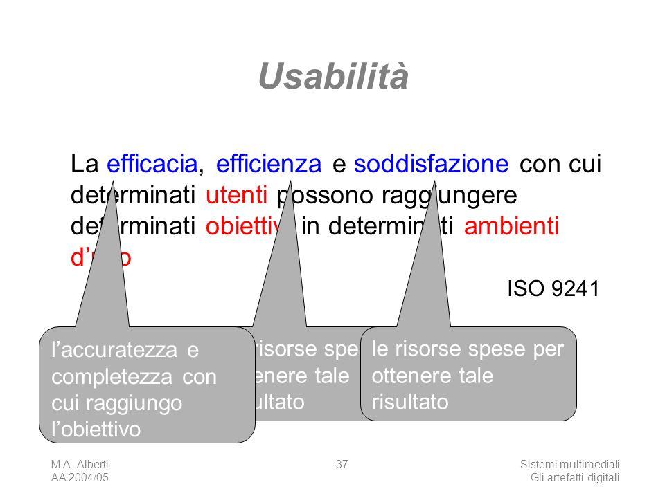 M.A. Alberti AA 2004/05 Sistemi multimediali Gli artefatti digitali 37 Usabilità La efficacia, efficienza e soddisfazione con cui determinati utenti p