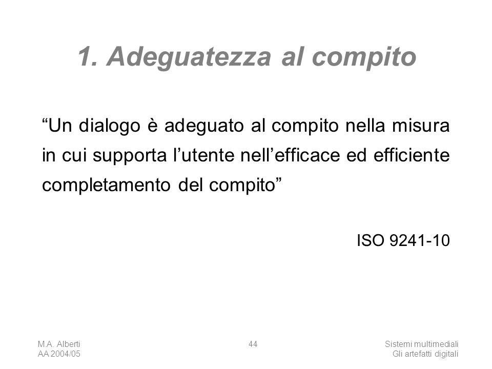 M.A. Alberti AA 2004/05 Sistemi multimediali Gli artefatti digitali 44 1. Adeguatezza al compito Un dialogo è adeguato al compito nella misura in cui