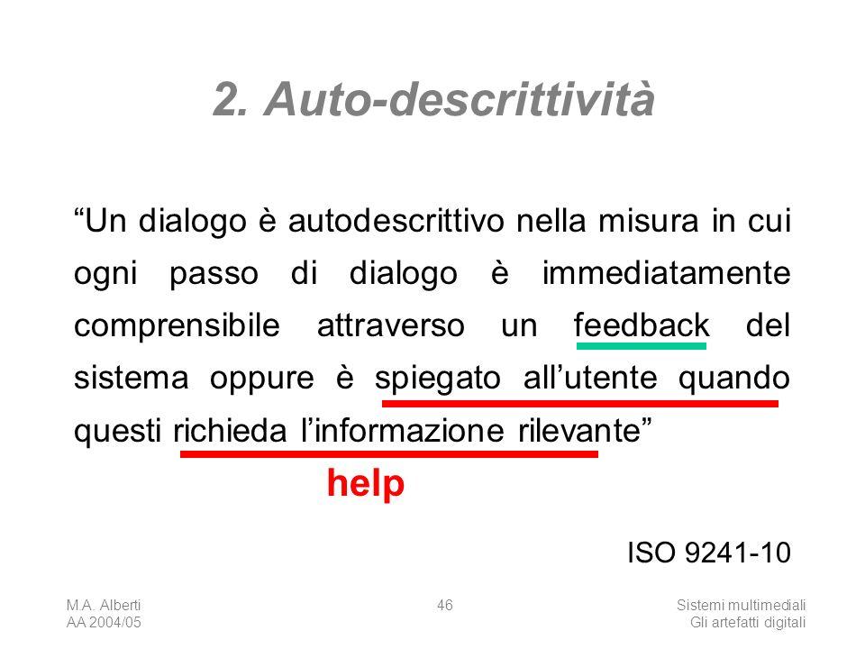 M.A. Alberti AA 2004/05 Sistemi multimediali Gli artefatti digitali 46 2. Auto-descrittività Un dialogo è autodescrittivo nella misura in cui ogni pas