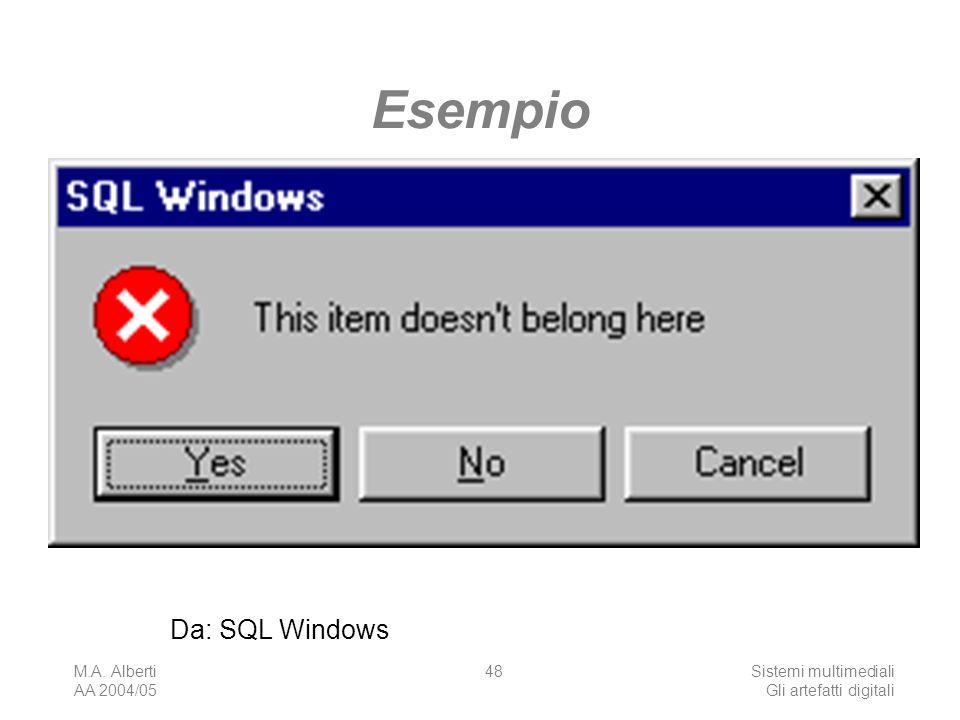 M.A. Alberti AA 2004/05 Sistemi multimediali Gli artefatti digitali 48 Da: SQL Windows Esempio