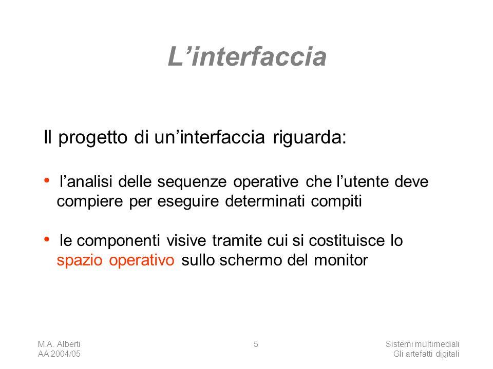 M.A. Alberti AA 2004/05 Sistemi multimediali Gli artefatti digitali 5 Linterfaccia Il progetto di uninterfaccia riguarda: lanalisi delle sequenze oper