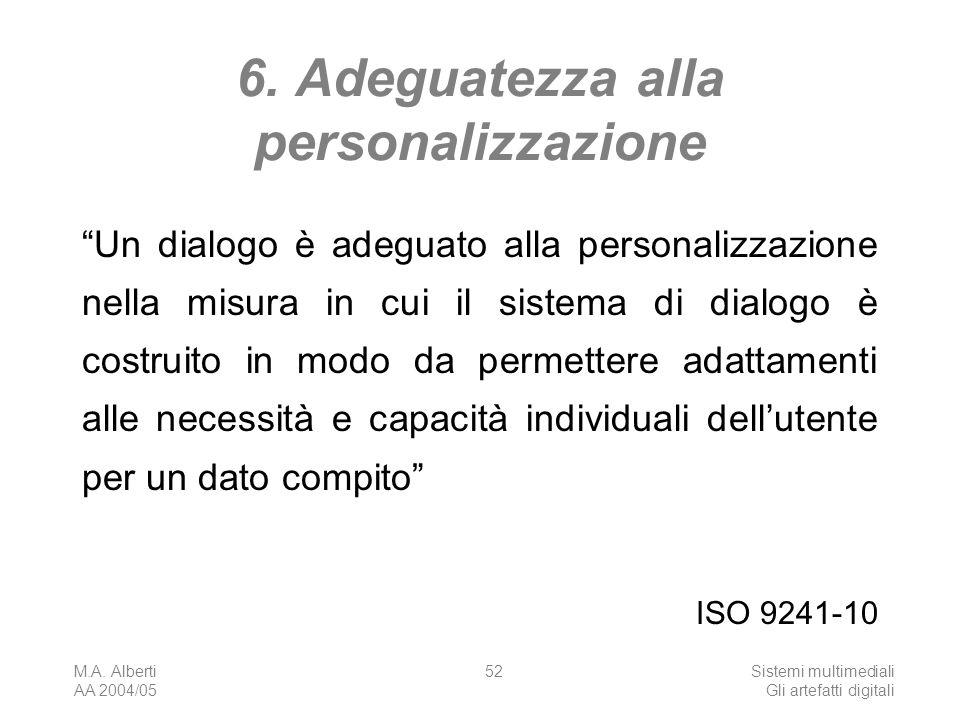 M.A. Alberti AA 2004/05 Sistemi multimediali Gli artefatti digitali 52 6. Adeguatezza alla personalizzazione Un dialogo è adeguato alla personalizzazi