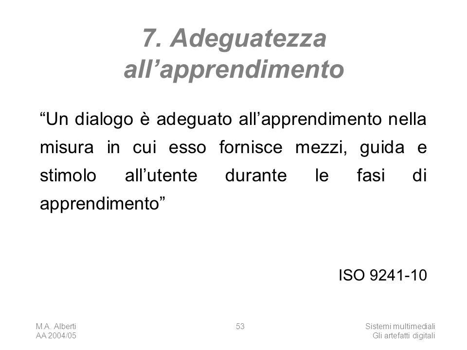 M.A. Alberti AA 2004/05 Sistemi multimediali Gli artefatti digitali 53 7. Adeguatezza allapprendimento Un dialogo è adeguato allapprendimento nella mi