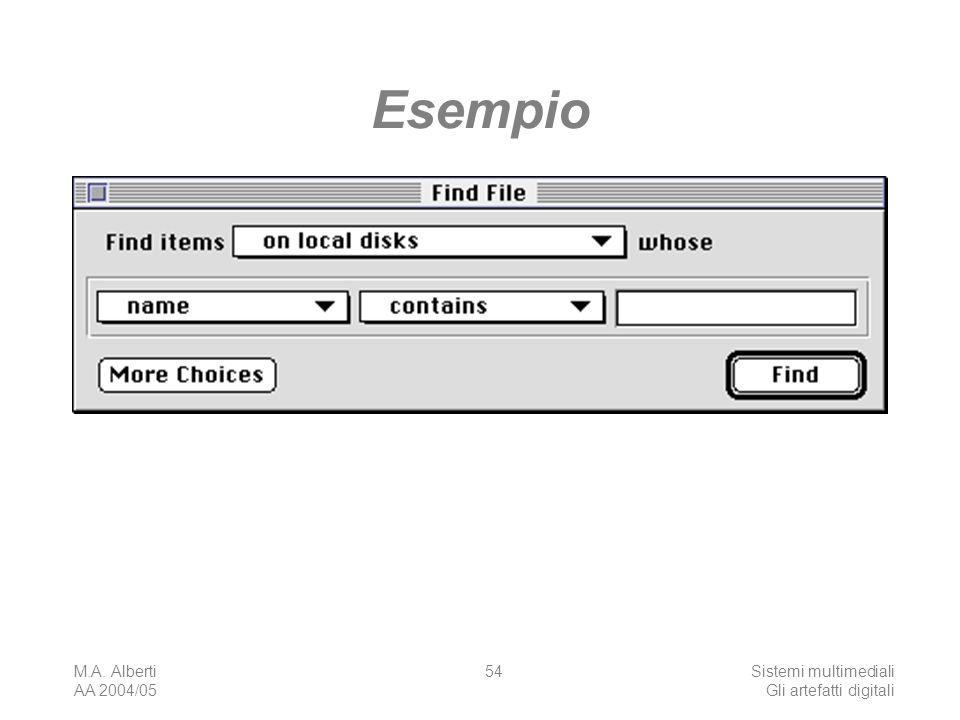 M.A. Alberti AA 2004/05 Sistemi multimediali Gli artefatti digitali 54 Esempio