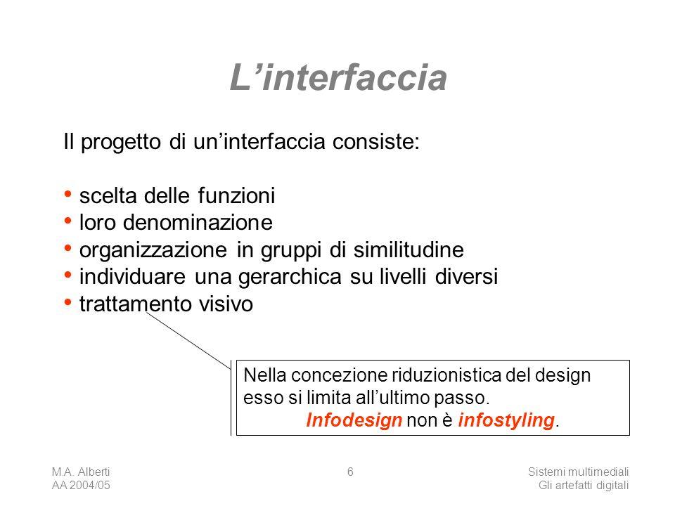 M.A. Alberti AA 2004/05 Sistemi multimediali Gli artefatti digitali 6 Linterfaccia Il progetto di uninterfaccia consiste: scelta delle funzioni loro d