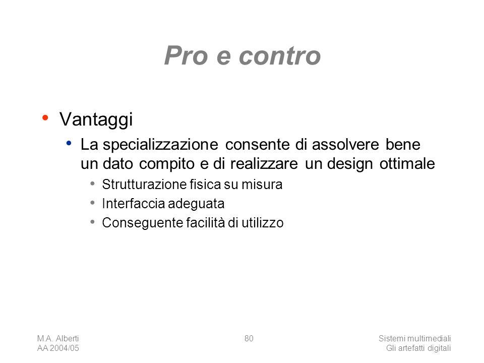 M.A. Alberti AA 2004/05 Sistemi multimediali Gli artefatti digitali 80 Pro e contro Vantaggi La specializzazione consente di assolvere bene un dato co