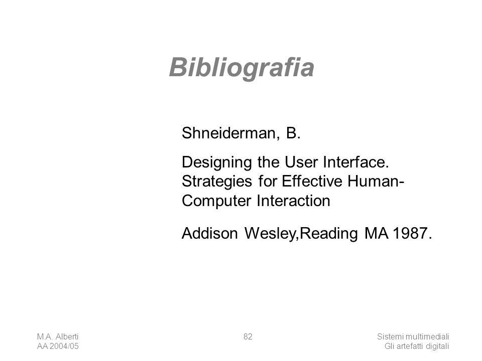 M.A. Alberti AA 2004/05 Sistemi multimediali Gli artefatti digitali 82 Bibliografia Shneiderman, B. Designing the User Interface. Strategies for Effec
