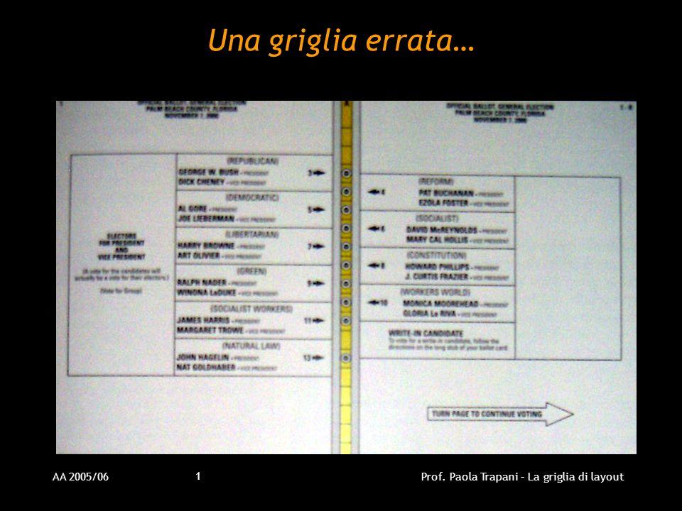 AA 2005/06Prof. Paola Trapani – La griglia di layout 1 Una griglia errata…