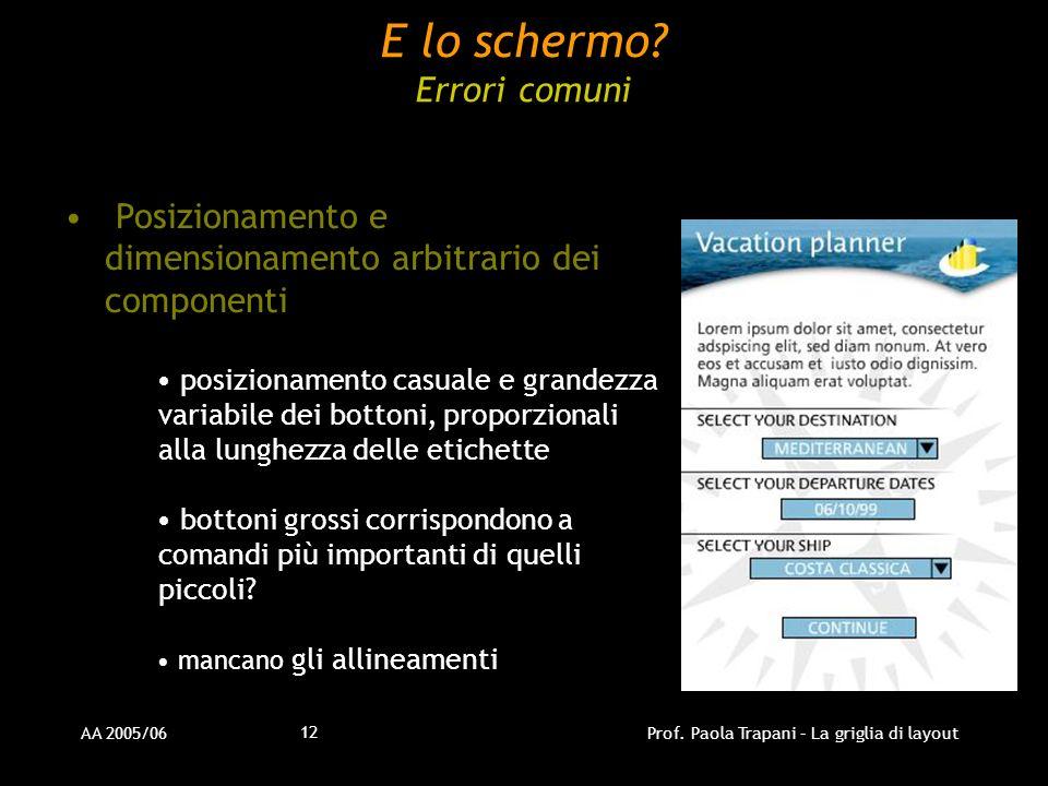 AA 2005/06Prof. Paola Trapani – La griglia di layout 12 E lo schermo? Errori comuni Posizionamento e dimensionamento arbitrario dei componenti posizio
