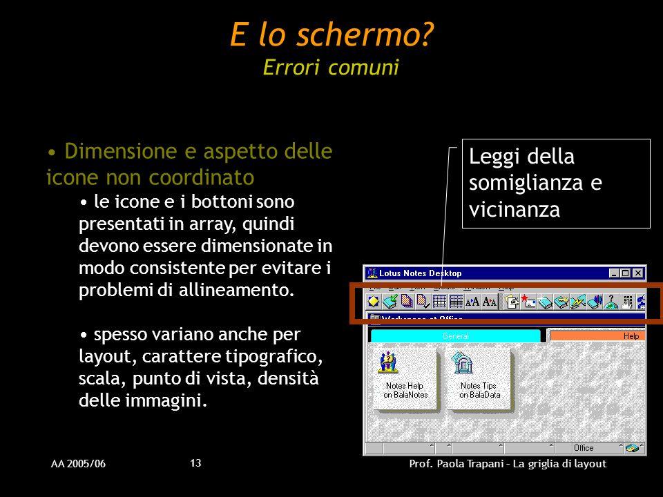AA 2005/06Prof. Paola Trapani – La griglia di layout 13 Dimensione e aspetto delle icone non coordinato le icone e i bottoni sono presentati in array,