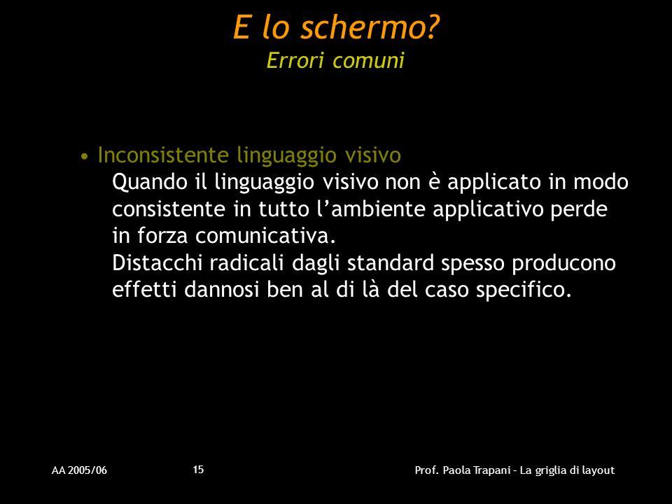 AA 2005/06Prof. Paola Trapani – La griglia di layout 15 Inconsistente linguaggio visivo Quando il linguaggio visivo non è applicato in modo consistent