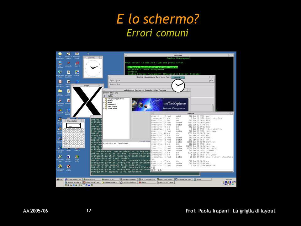 AA 2005/06Prof. Paola Trapani – La griglia di layout 17 E lo schermo? Errori comuni