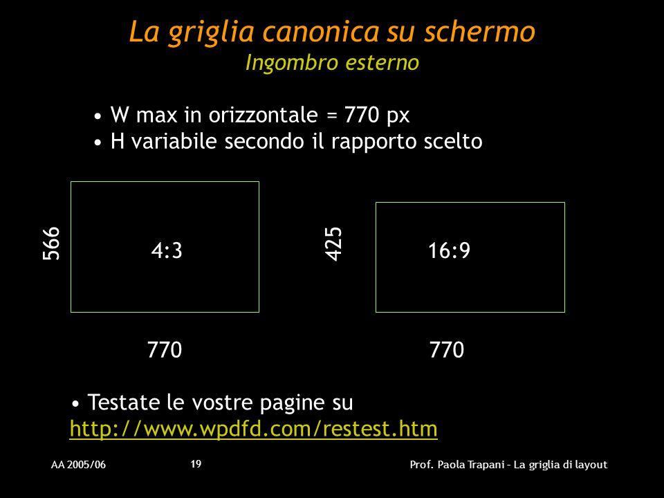 AA 2005/06Prof. Paola Trapani – La griglia di layout 19 La griglia canonica su schermo Ingombro esterno W max in orizzontale = 770 px H variabile seco