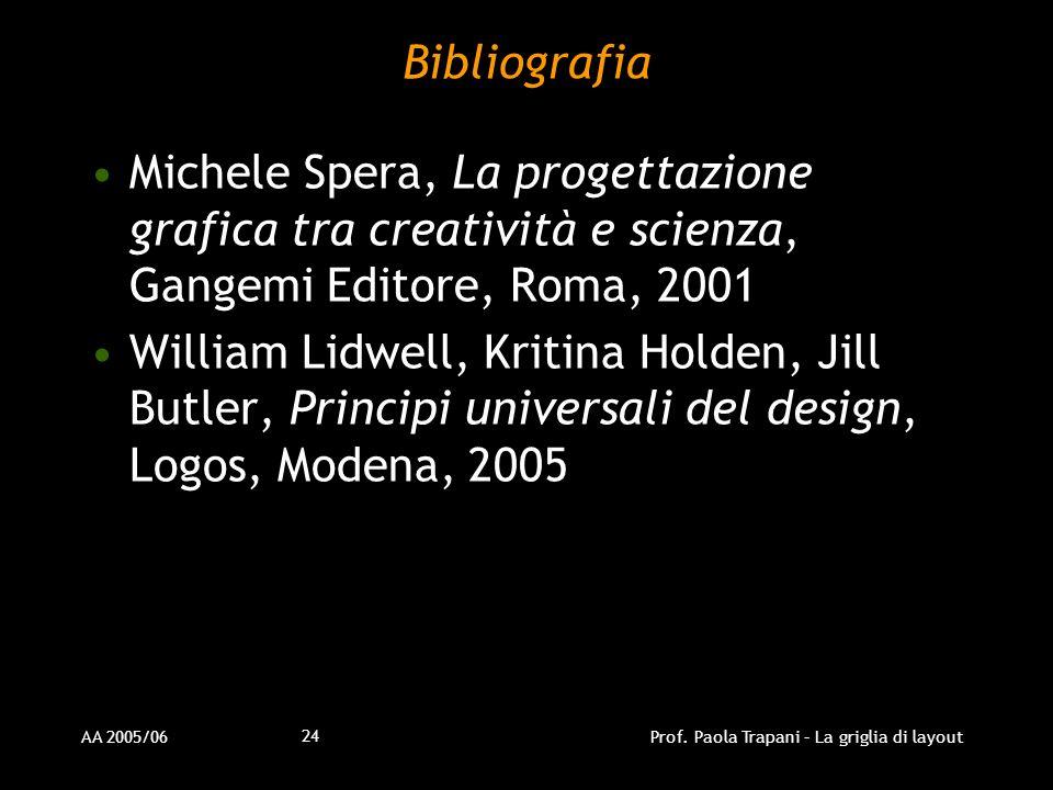 AA 2005/06Prof. Paola Trapani – La griglia di layout 24 Bibliografia Michele Spera, La progettazione grafica tra creatività e scienza, Gangemi Editore