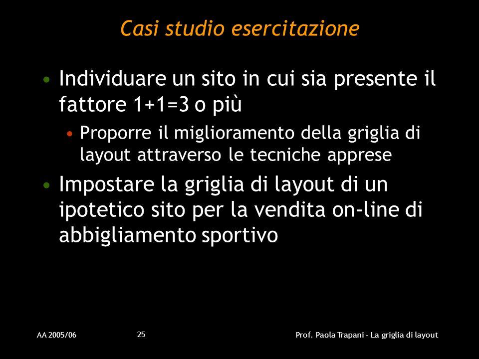 AA 2005/06Prof. Paola Trapani – La griglia di layout 25 Casi studio esercitazione Individuare un sito in cui sia presente il fattore 1+1=3 o più Propo