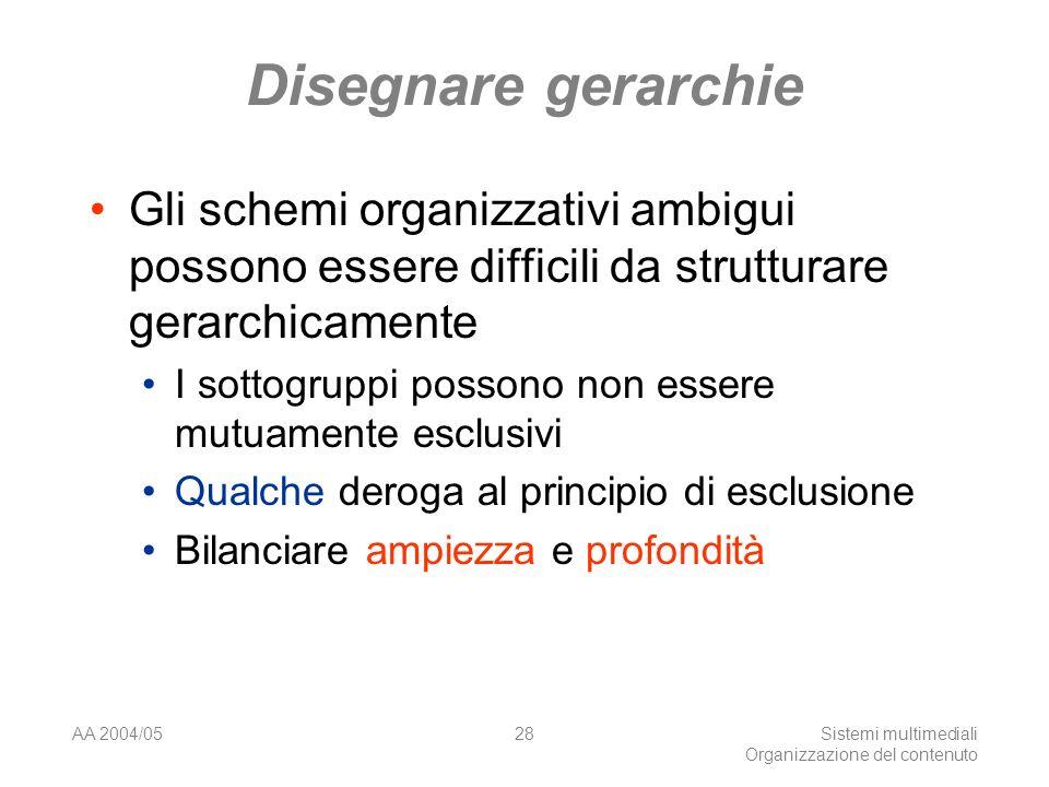 AA 2004/05Sistemi multimediali Organizzazione del contenuto 28 Disegnare gerarchie Gli schemi organizzativi ambigui possono essere difficili da strutturare gerarchicamente I sottogruppi possono non essere mutuamente esclusivi Qualche deroga al principio di esclusione Bilanciare ampiezza e profondità