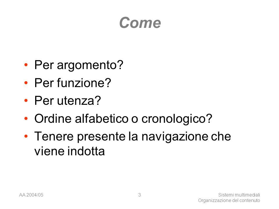AA 2004/05Sistemi multimediali Organizzazione del contenuto 3 Come Per argomento.
