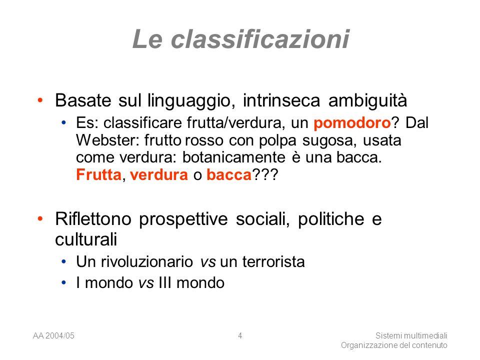 AA 2004/05Sistemi multimediali Organizzazione del contenuto 4 Le classificazioni Basate sul linguaggio, intrinseca ambiguità Es: classificare frutta/verdura, un pomodoro.