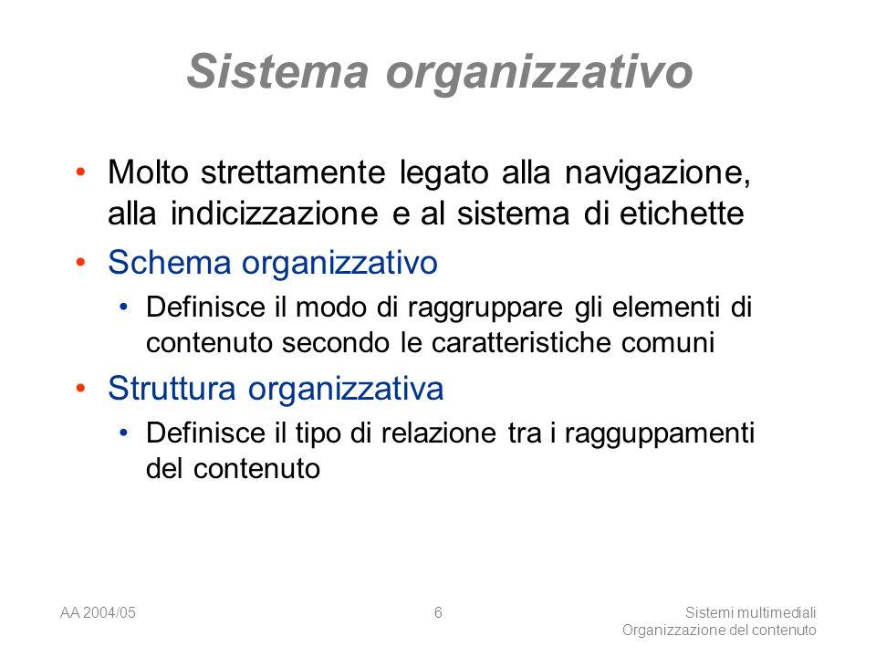 AA 2004/05Sistemi multimediali Organizzazione del contenuto 6 Sistema organizzativo Molto strettamente legato alla navigazione, alla indicizzazione e al sistema di etichette Schema organizzativo Definisce il modo di raggruppare gli elementi di contenuto secondo le caratteristiche comuni Struttura organizzativa Definisce il tipo di relazione tra i ragguppamenti del contenuto