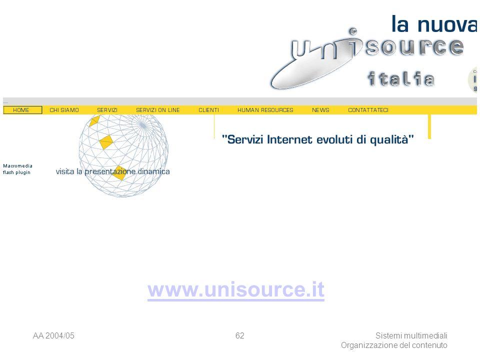 AA 2004/05Sistemi multimediali Organizzazione del contenuto 62 www.unisource.it