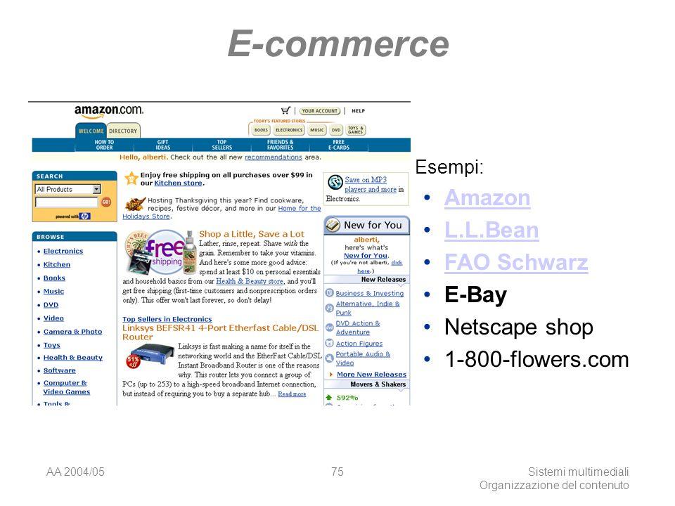 AA 2004/05Sistemi multimediali Organizzazione del contenuto 75 E-commerce Esempi: Amazon L.L.Bean FAO Schwarz E-Bay Netscape shop 1-800-flowers.com