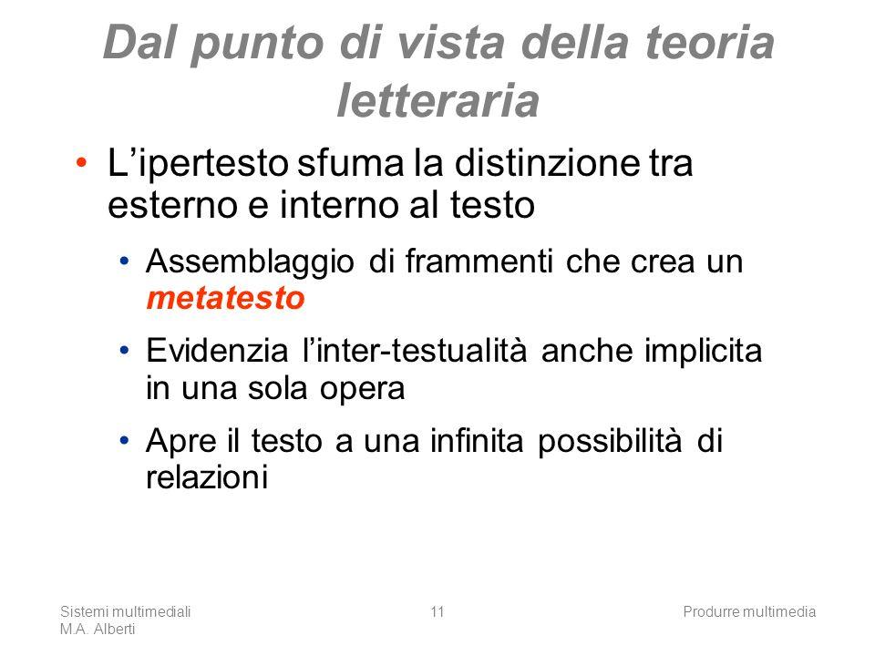 Sistemi multimediali M.A. Alberti Produrre multimedia11 Dal punto di vista della teoria letteraria Lipertesto sfuma la distinzione tra esterno e inter