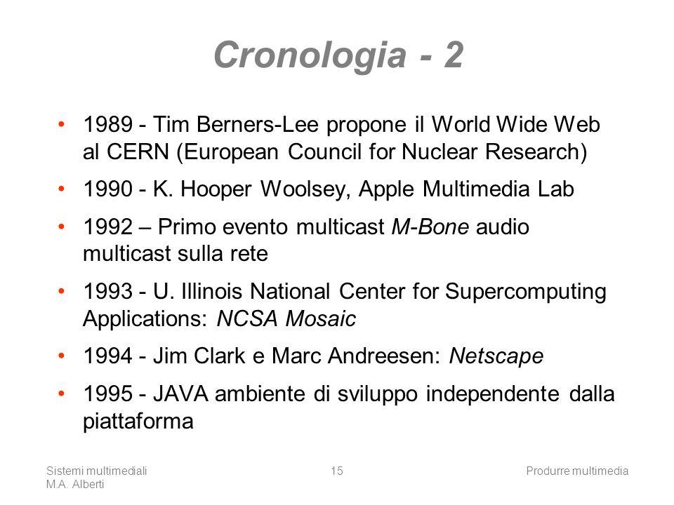 Sistemi multimediali M.A. Alberti Produrre multimedia15 Cronologia - 2 1989 - Tim Berners-Lee propone il World Wide Web al CERN (European Council for