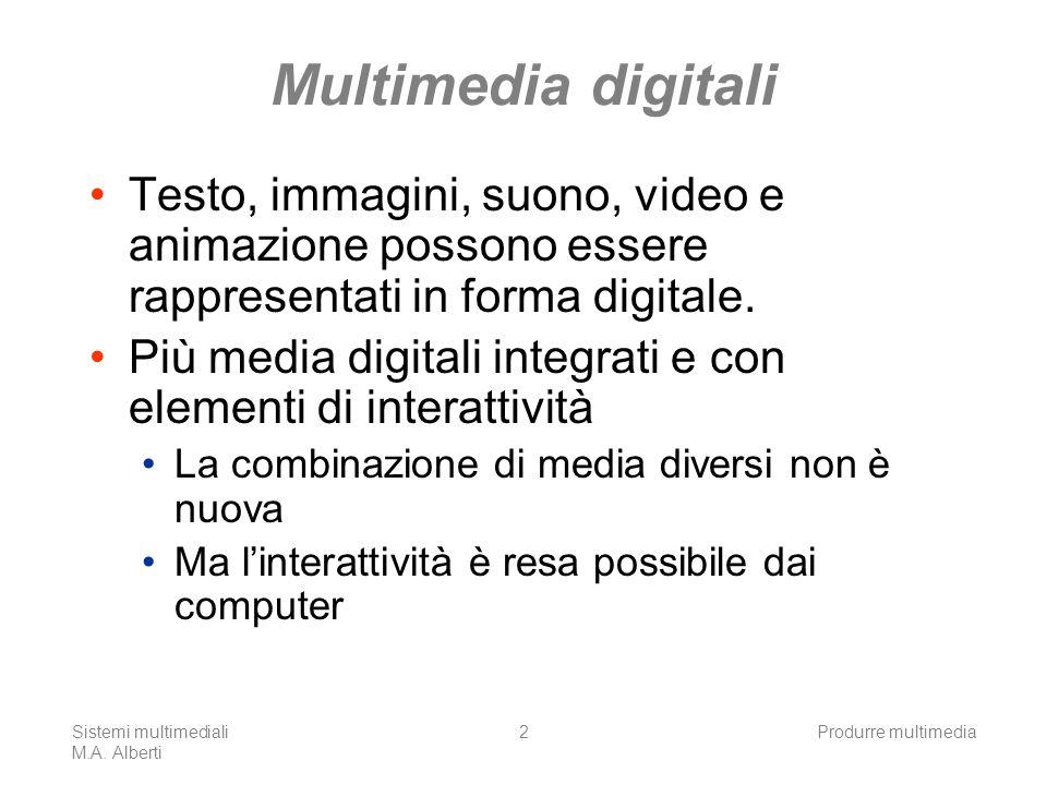 Sistemi multimediali M.A. Alberti Produrre multimedia2 Multimedia digitali Testo, immagini, suono, video e animazione possono essere rappresentati in