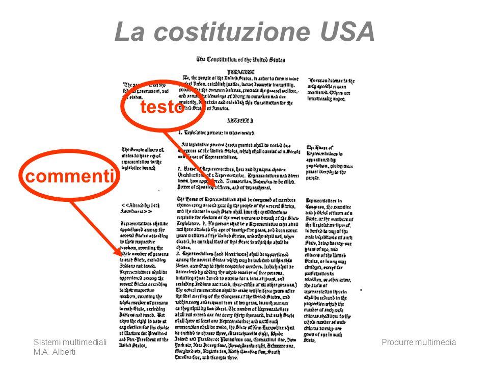 Sistemi multimediali M.A. Alberti Produrre multimedia21 La costituzione USA testocommenti