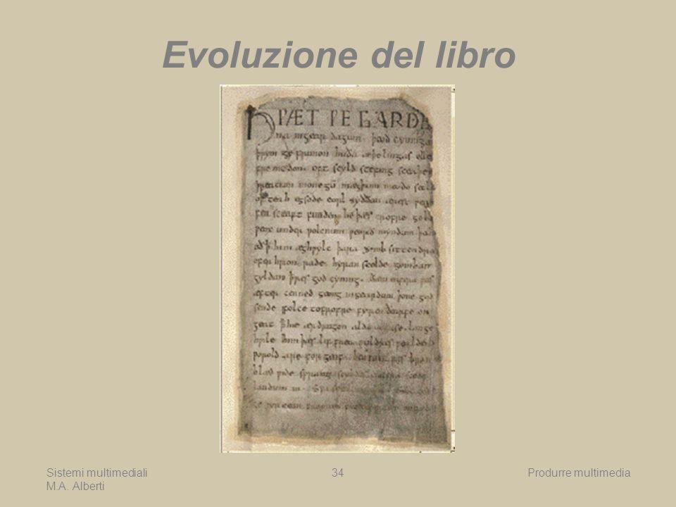 Sistemi multimediali M.A. Alberti Produrre multimedia34 Evoluzione del libro