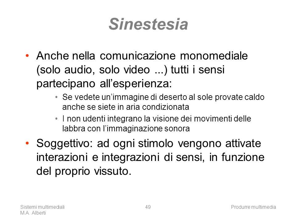 Sistemi multimediali M.A. Alberti Produrre multimedia49 Sinestesia Anche nella comunicazione monomediale (solo audio, solo video...) tutti i sensi par