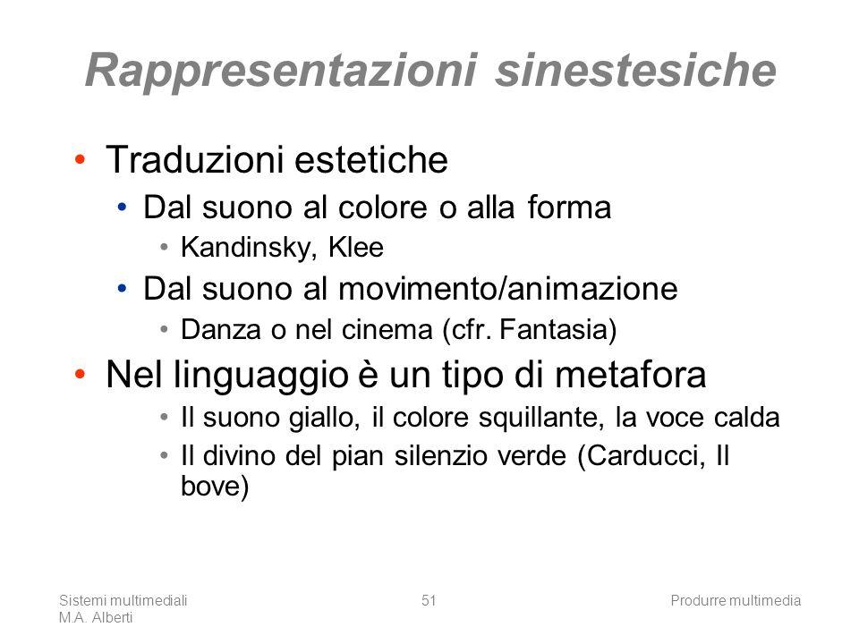 Sistemi multimediali M.A. Alberti Produrre multimedia51 Rappresentazioni sinestesiche Traduzioni estetiche Dal suono al colore o alla forma Kandinsky,