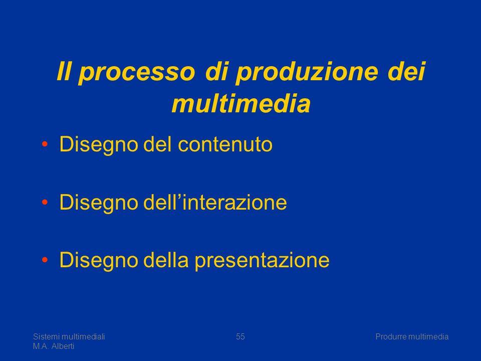Sistemi multimediali M.A. Alberti Produrre multimedia55 Il processo di produzione dei multimedia Disegno del contenuto Disegno dellinterazione Disegno