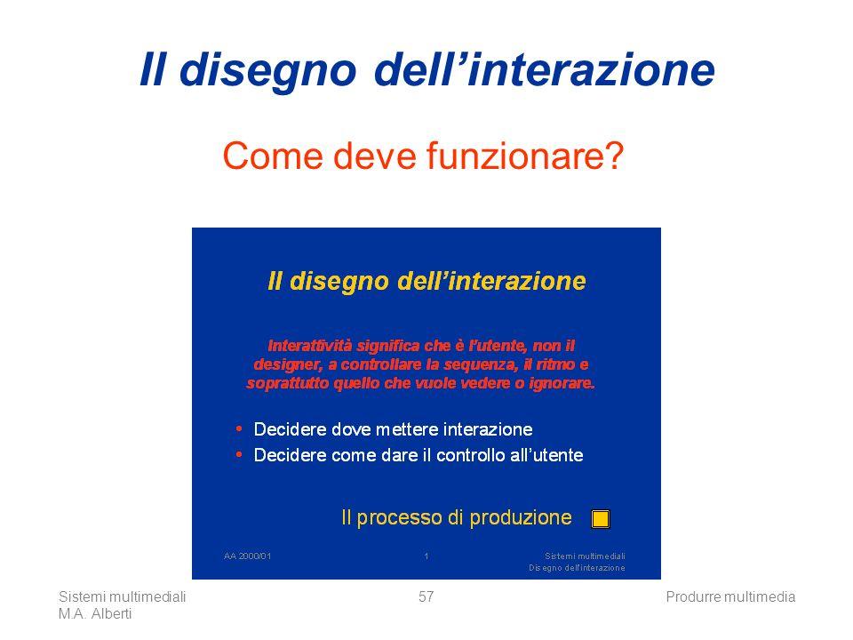 Sistemi multimediali M.A. Alberti Produrre multimedia57 Il disegno dellinterazione Come deve funzionare?