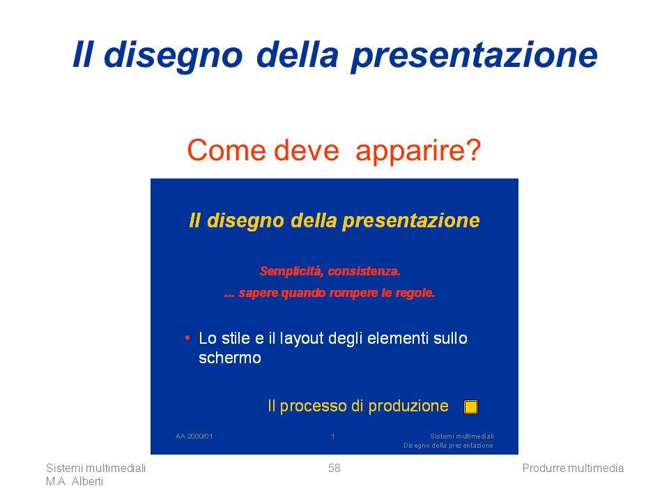 Sistemi multimediali M.A. Alberti Produrre multimedia58 Il disegno della presentazione Come deve apparire?