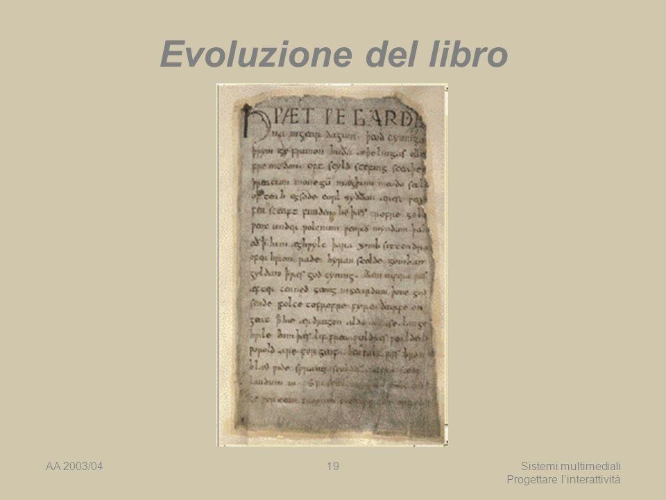 AA 2003/04Sistemi multimediali Progettare linterattività 19 Evoluzione del libro