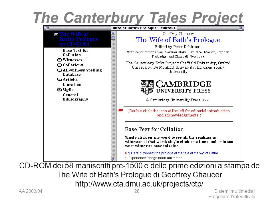 AA 2003/04Sistemi multimediali Progettare linterattività 28 The Canterbury Tales Project CD-ROM dei 58 maniscritti pre-1500 e delle prime edizioni a stampa de The Wife of Bath s Prologue di Geoffrey Chaucer