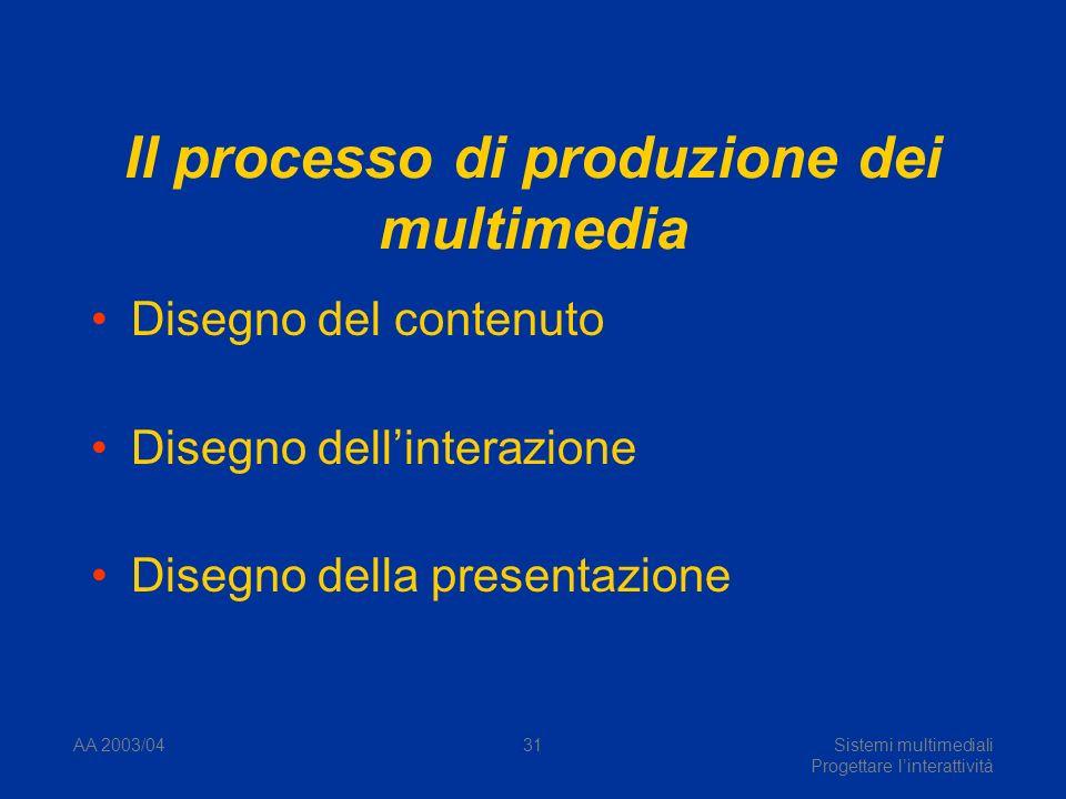 AA 2003/04Sistemi multimediali Progettare linterattività 31 Il processo di produzione dei multimedia Disegno del contenuto Disegno dellinterazione Disegno della presentazione
