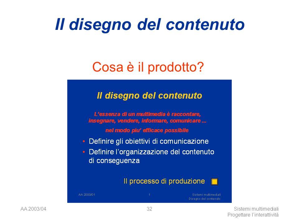 AA 2003/04Sistemi multimediali Progettare linterattività 32 Il disegno del contenuto Cosa è il prodotto