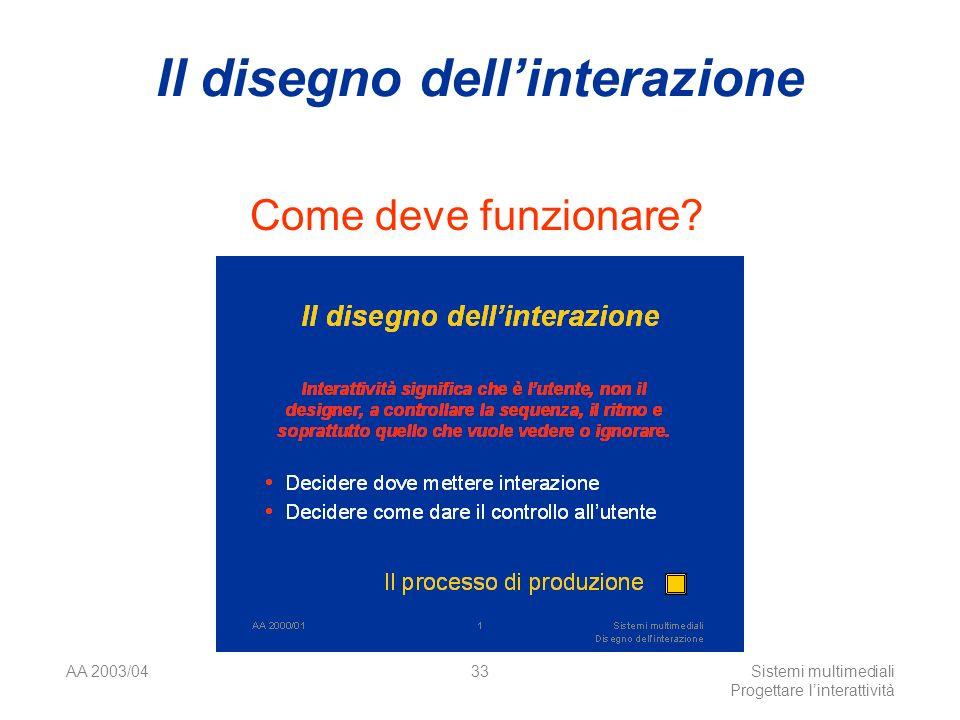 AA 2003/04Sistemi multimediali Progettare linterattività 33 Il disegno dellinterazione Come deve funzionare