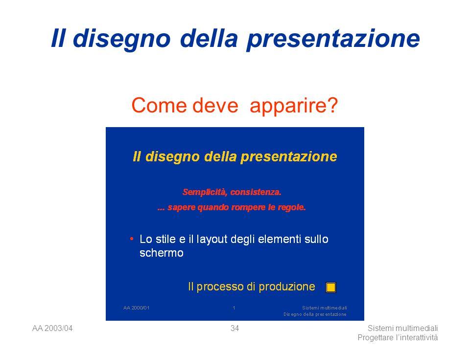 AA 2003/04Sistemi multimediali Progettare linterattività 34 Il disegno della presentazione Come deve apparire