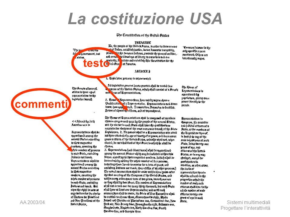AA 2003/04Sistemi multimediali Progettare linterattività 5 La costituzione USA testocommenti