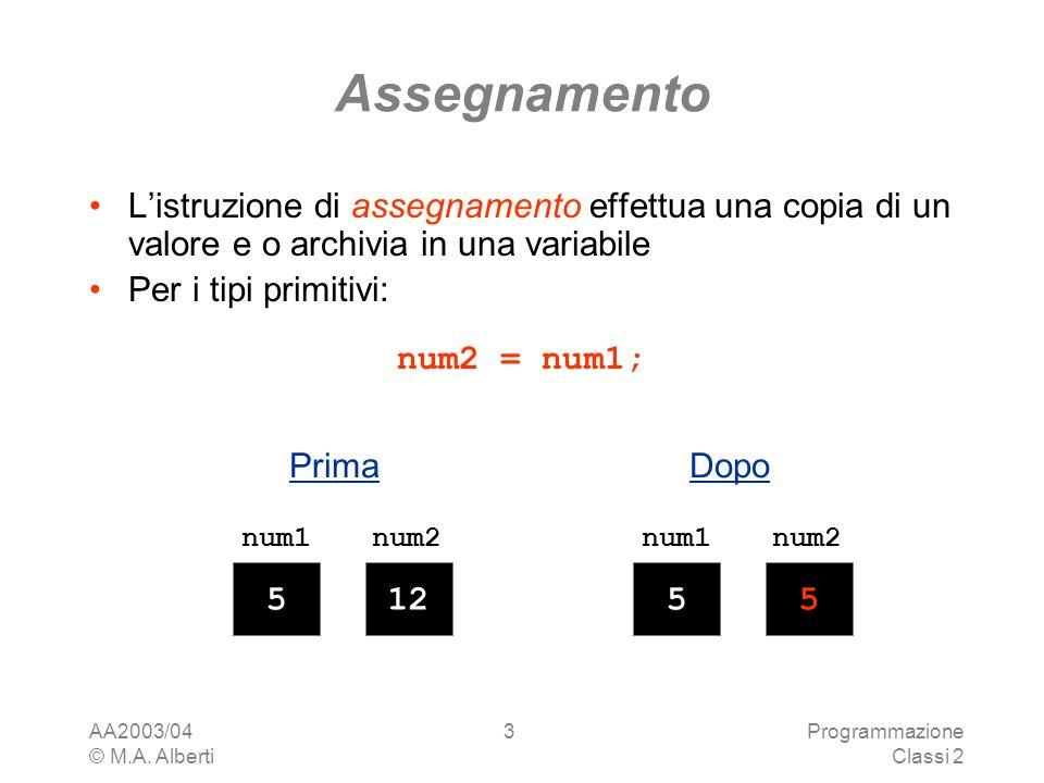 AA2003/04 © M.A. Alberti Programmazione Classi 2 3 Assegnamento Listruzione di assegnamento effettua una copia di un valore e o archivia in una variab
