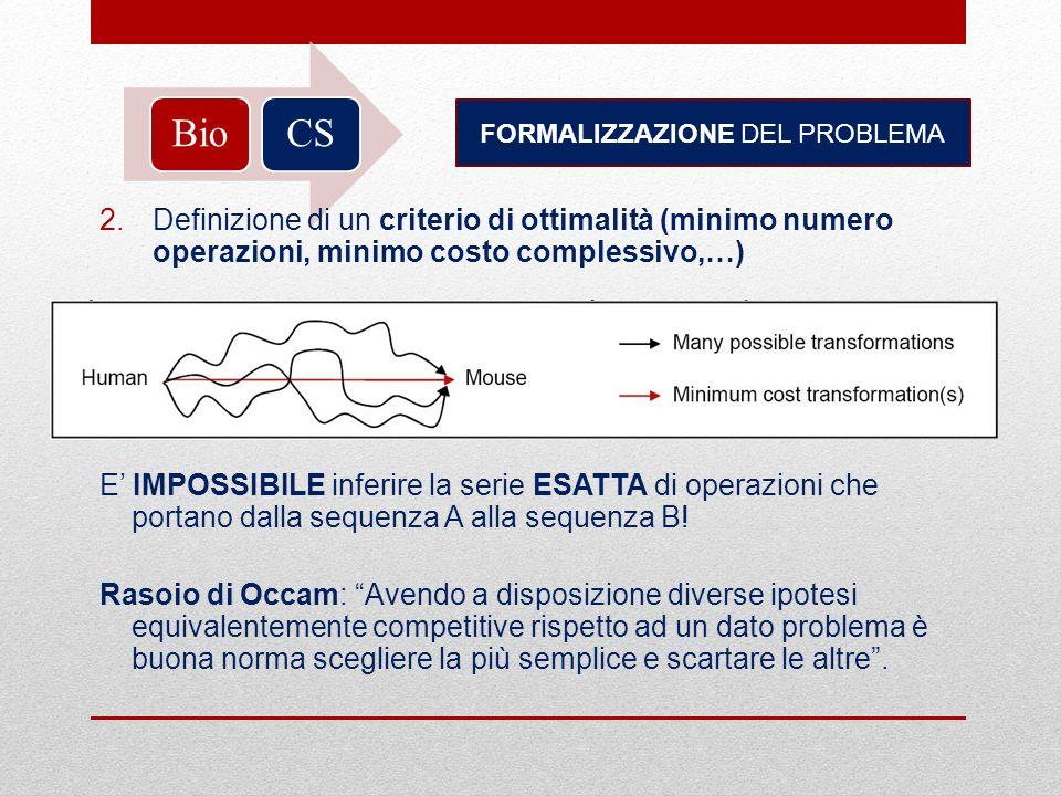BioCS FORMALIZZAZIONE DEL PROBLEMA 2.Definizione di un criterio di ottimalità (minimo numero operazioni, minimo costo complessivo,…) E IMPOSSIBILE inf