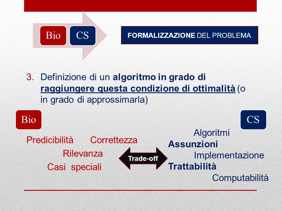 BioCS FORMALIZZAZIONE DEL PROBLEMA 3.Definizione di un algoritmo in grado di raggiungere questa condizione di ottimalità (o in grado di approssimarla)