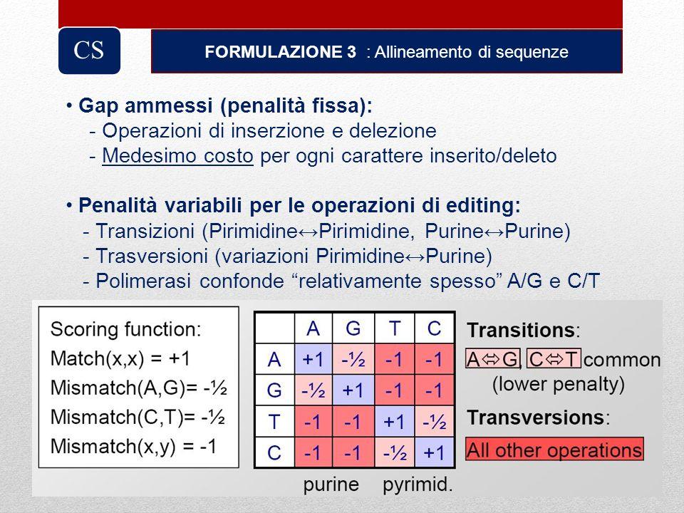 FORMULAZIONE 3 : Allineamento di sequenze CS Gap ammessi (penalità fissa): - Operazioni di inserzione e delezione - Medesimo costo per ogni carattere
