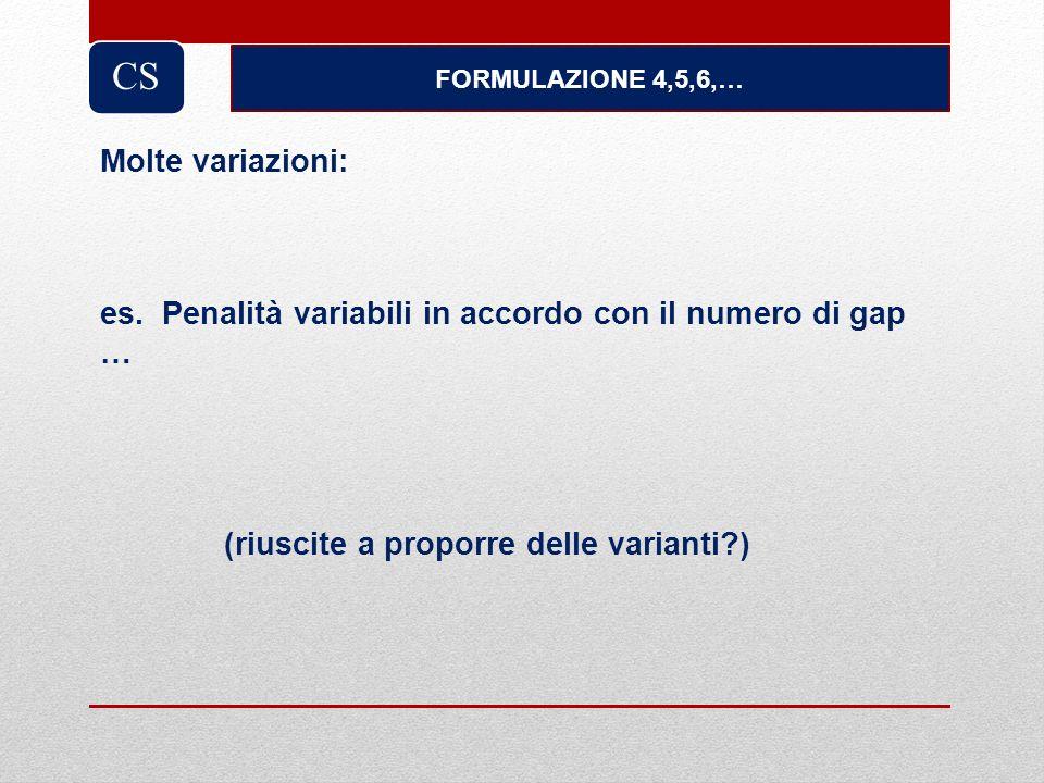 FORMULAZIONE 4,5,6,… CS Molte variazioni: es. Penalità variabili in accordo con il numero di gap … (riuscite a proporre delle varianti?)