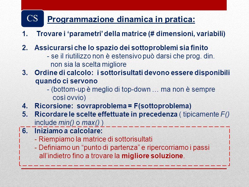 CS 1. Trovare i parametri della matrice (# dimensioni, variabili) 2.Assicurarsi che lo spazio dei sottoproblemi sia finito - se il riutilizzo non è es